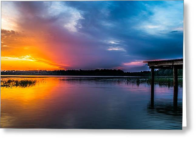 Wooden Dock Greeting Cards - Panoramic Sunset Greeting Card by Shelby  Young