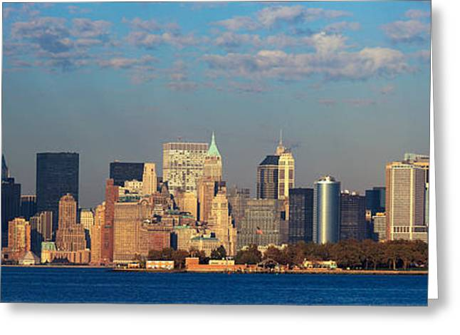 Liberty Island Greeting Cards - Panoramic Sunset View Of World Trade Greeting Card by Panoramic Images