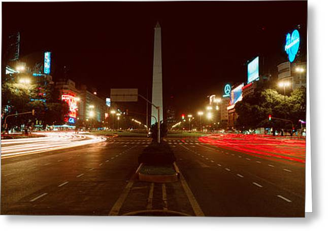 Buenos Aires Greeting Cards - Panoramic View At Night Of Avenida 9 De Greeting Card by Panoramic Images