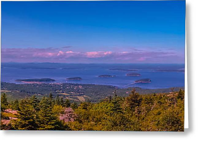 Maine Shore Greeting Cards - Panoramic view from Cadillac Mountain 2 Greeting Card by Claudia Mottram