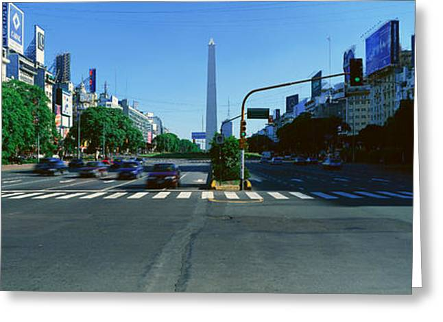 Buenos Aires Greeting Cards - Panoramic View Of Avenida 9 De Julio Greeting Card by Panoramic Images