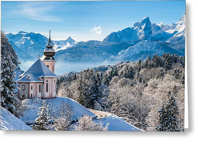 Swiss Photographs Greeting Cards - Snowy church in the Bavarian Alps in winter Greeting Card by JR Photography