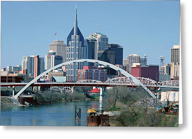 Tennessee River Greeting Cards - Panoramic View Of Bridge Greeting Card by Panoramic Images