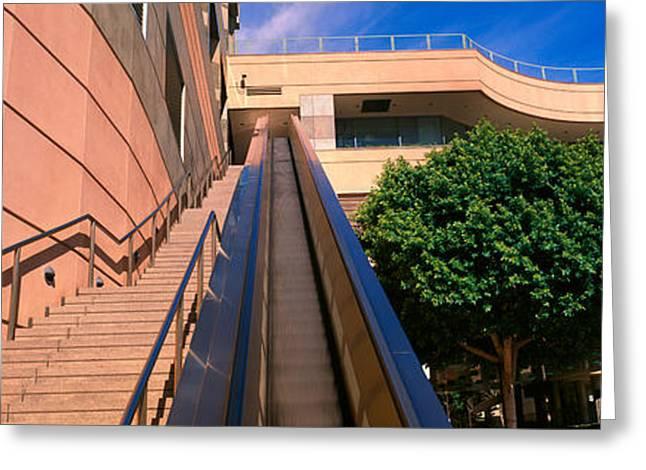 Escalator Greeting Cards - Panoramic View Of Escalator And Stairs Greeting Card by Panoramic Images