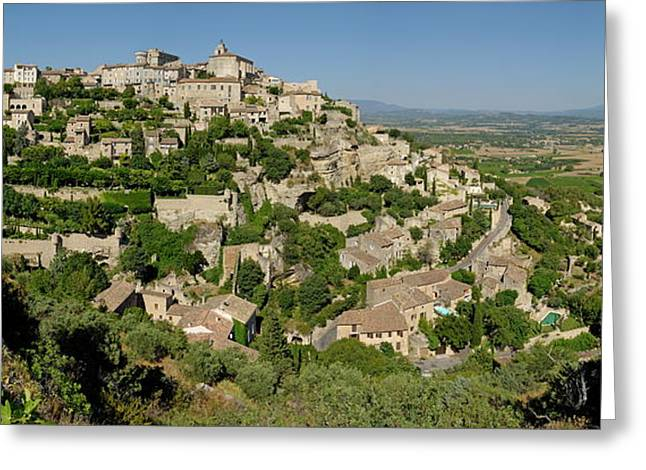 Provence Village Photographs Greeting Cards - Panoramic view of Gordes Medieval hilltop village Greeting Card by Sami Sarkis