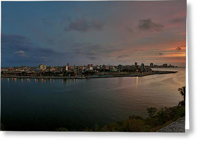 Historic Site Greeting Cards - Panoramic view of Havana from La Cabana. Cuba Greeting Card by Juan Carlos Ferro Duque