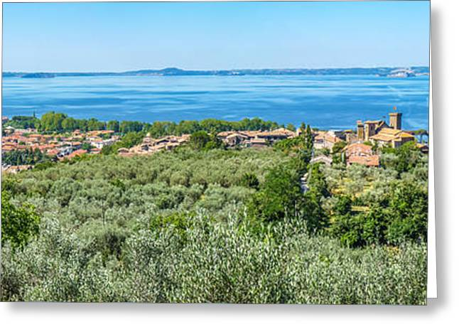 Crater Lake Panorama Greeting Cards - Panoramic view of Lake Bolsena, province of Viterbo, Lazio, Ital Greeting Card by JR Photography