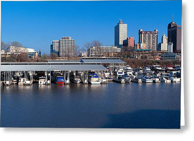 Mississippi River Scene Greeting Cards - Panoramic View Of Memphis, Tn Skyline Greeting Card by Panoramic Images