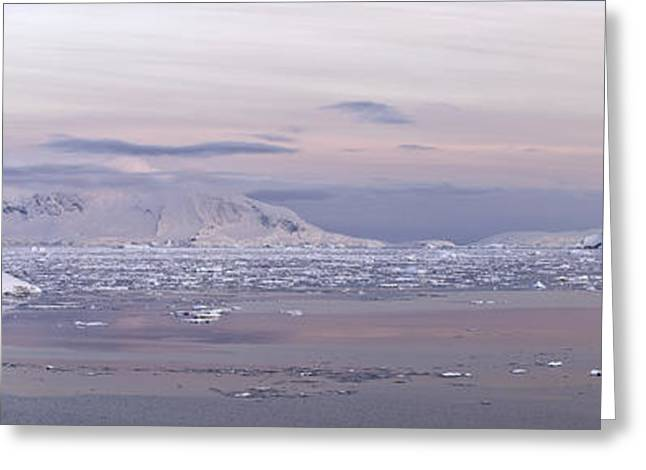 Ocean Panorama Greeting Cards - Panoramic View Of Mountain Range Greeting Card by Daisy Gilardini
