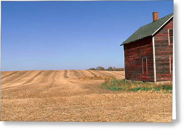 Panoramic View Of Old Farm Building Greeting Card by Panoramic Images