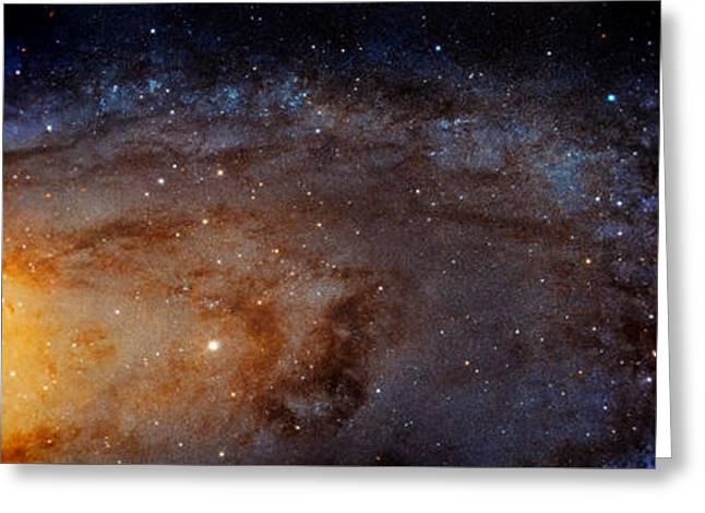 Panoramic View Of The Andromeda Galaxy Greeting Card by The Vault - Jennifer Rondinelli Reilly