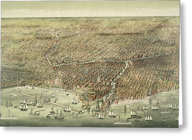 Panoramic View Of The City Of Chicago Greeting Card by American School