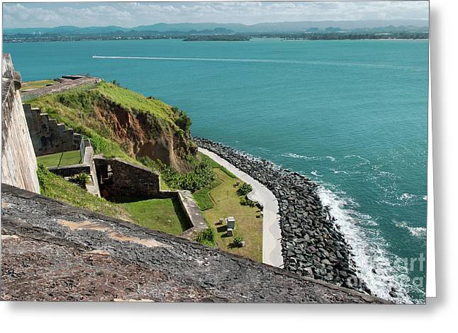 Panoramic View Of The Coastline From El Morro Fortress, San Juan, Puerto Rico Greeting Card by Dani Prints and Images