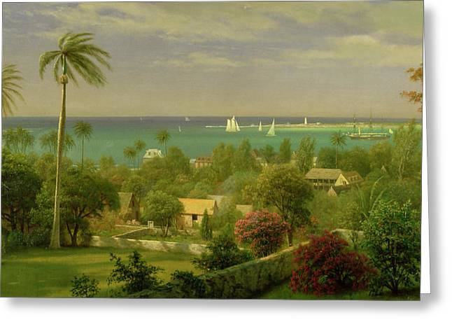 Panoramic Ocean Paintings Greeting Cards - Panoramic View of the Harbour at Nassau in the Bahamas Greeting Card by Albert Bierstadt