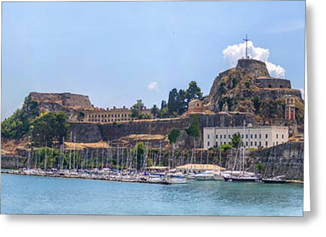 Byzantine Greeting Cards - Panoramic view of thr Old Fortress in the city of Corfu Greece Greeting Card by Eduardo Huelin
