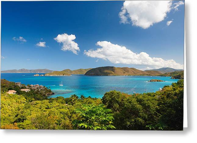 Panoramic View Of Trunk Bay Greeting Card by George Oze