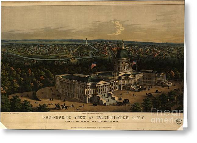 Panoramic View Of Washington City From The New Dome Of The Capitol Greeting Card by MotionAge Designs