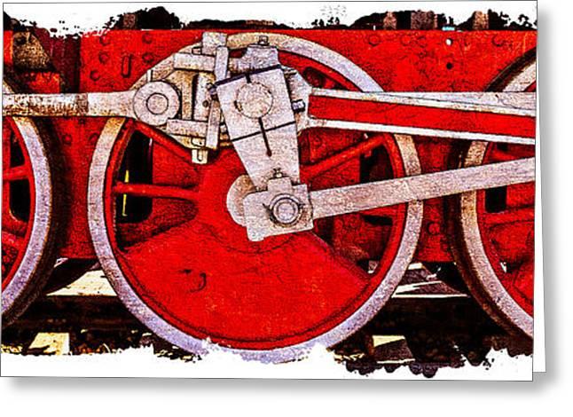 Iron Greeting Cards - Panoramic Vintage Steam Train Wheels Greeting Card by Alexander Senin