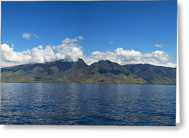 Dave Greeting Cards - Panoramic West Maui Greeting Card by Dave Fleetham - Printscapes