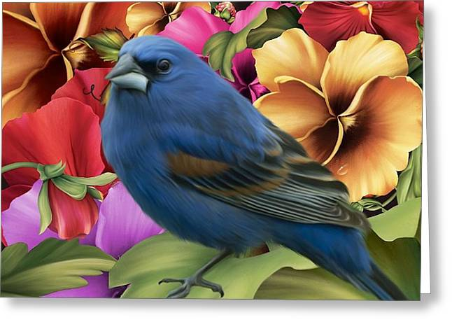 Bluebird Posters Greeting Cards - Pansies And Bluebird Greeting Card by G Berry