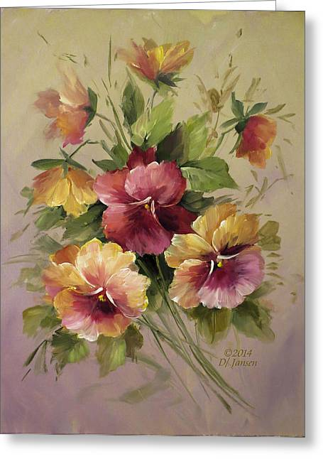 Recently Sold -  - Flower Still Life Prints Greeting Cards - Pansies Greeting Card by David Jansen