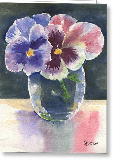 Glass Reflections Greeting Cards - Pansies Greeting Card by Marsha Elliott