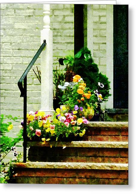 Suburb Greeting Cards - Pansies on Steps Greeting Card by Susan Savad