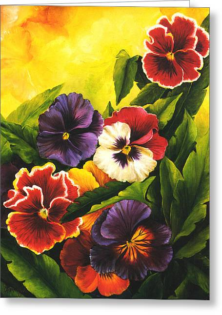 Cuban Painter Greeting Cards - Pansies or Vuela mis pensamientos Greeting Card by Dominica Alcantara