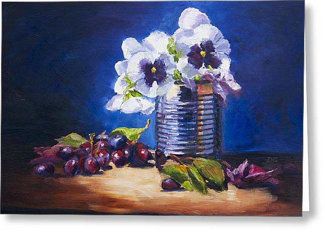 Grape Leaf Greeting Cards - Pansy and Grapes Greeting Card by David Gorski
