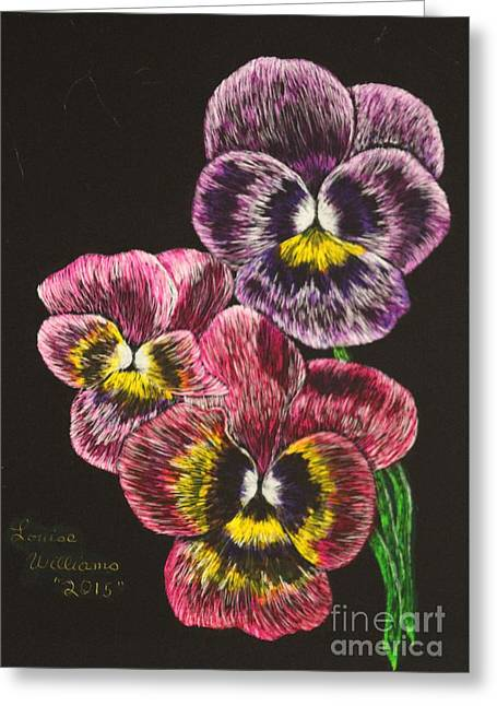 Williams Reliefs Greeting Cards - Pansy Bouquet Greeting Card by Louise Williams