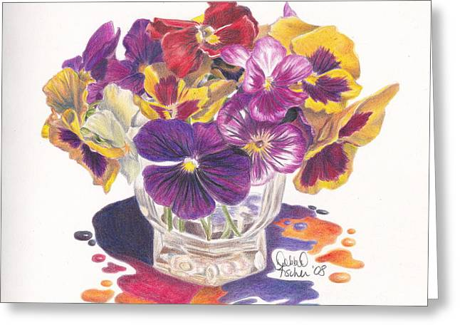 Vase Of Flowers Drawings Greeting Cards - Pansy Color Splash Greeting Card by Debbie Fischer