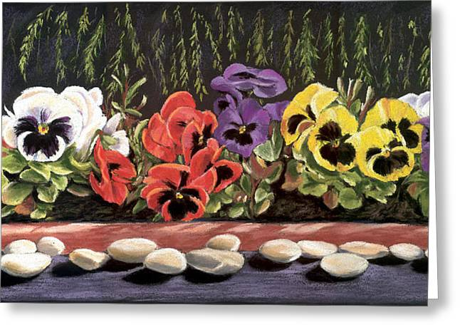 Pansy Palette Greeting Card by Vanda Luddy