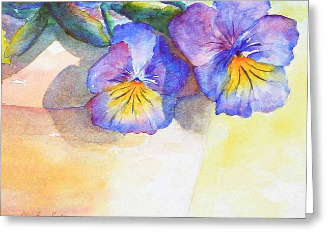 Johnny Jump Up Pansy Greeting Cards - Pansy Shadows watercolor Greeting Card by CheyAnne Sexton