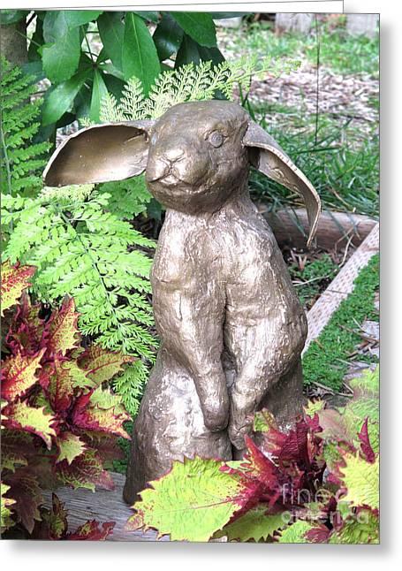 Standing Sculptures Greeting Cards - Pantaloon Rabbit Greeting Card by Karen  Peterson