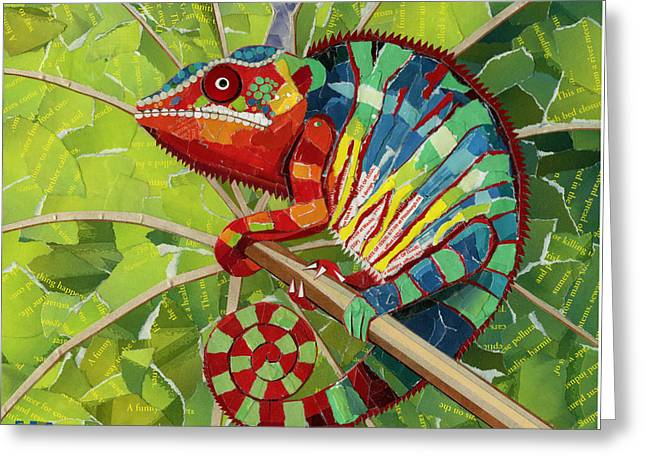Tears Greeting Cards - Panther Chameleon Greeting Card by Shawna  Rowe