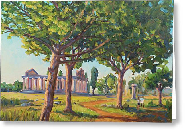 Warm Summer Paintings Greeting Cards - Panting the old temples Greeting Card by Marco Busoni
