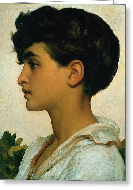 1875 (oil On Canvas) By Leighton Greeting Cards - Paolo Greeting Card by Frederic Leighton