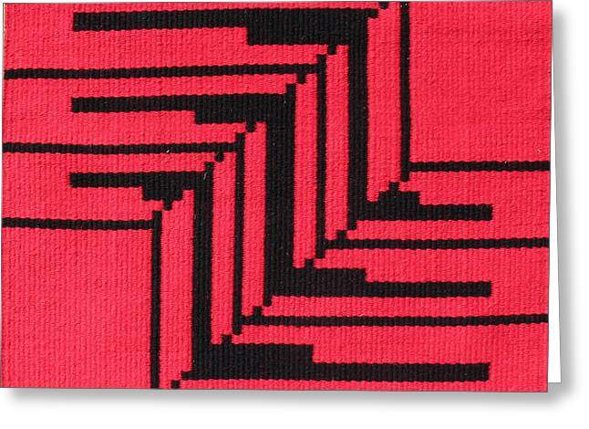 Graphic Tapestries - Textiles Greeting Cards - Papago Corners in Red Greeting Card by Judy Hilbish