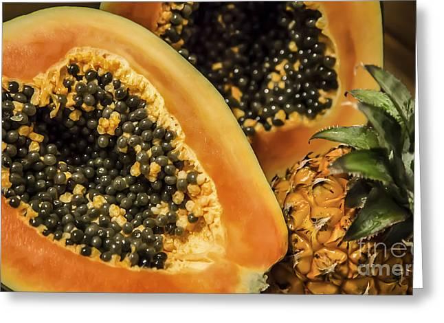 Pineapple Pyrography Greeting Cards - Papaya And Baby Pineapple Greeting Card by Olga Photography
