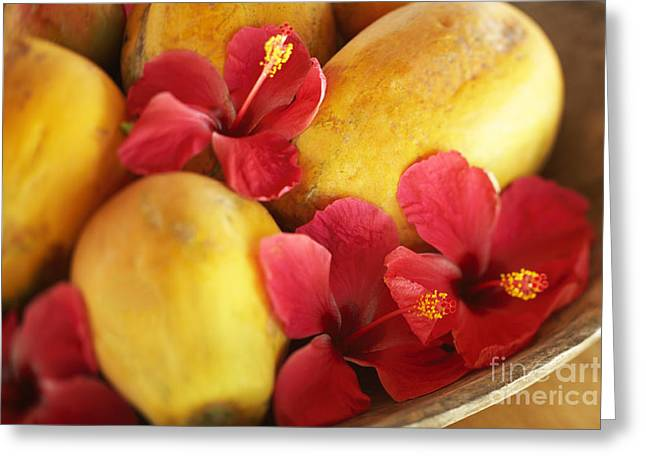 Local Food Greeting Cards - Papaya Fruit and Hibiscus Greeting Card by Kyle Rothenborg - Printscapes