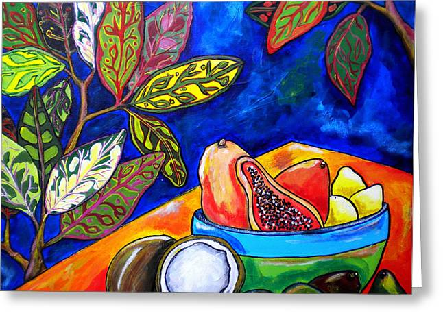 Colorful Greeting Cards - Papaya Morning Greeting Card by Patti Schermerhorn
