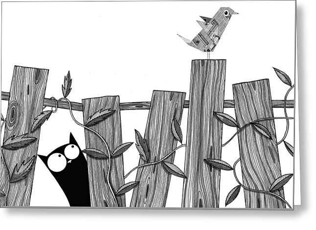 Fence Drawings Greeting Cards - Paper Bird Greeting Card by Andrew Hitchen