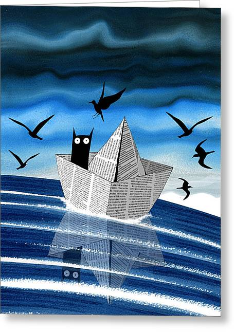 Paper Boat  Greeting Card by Andrew Hitchen