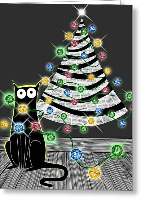 Twinkle Greeting Cards - Paper Christmas Tree Greeting Card by Andrew Hitchen