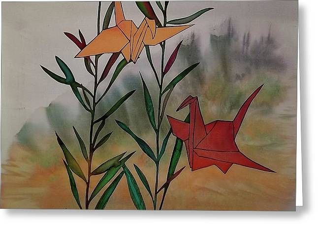 Flying Bird Tapestries - Textiles Greeting Cards - Paper Cranes 1 Greeting Card by Carolyn Doe