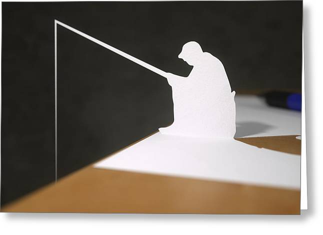 At Work Sculptures Greeting Cards - Paper fisherman fishing from desk Greeting Card by Richard Seanor