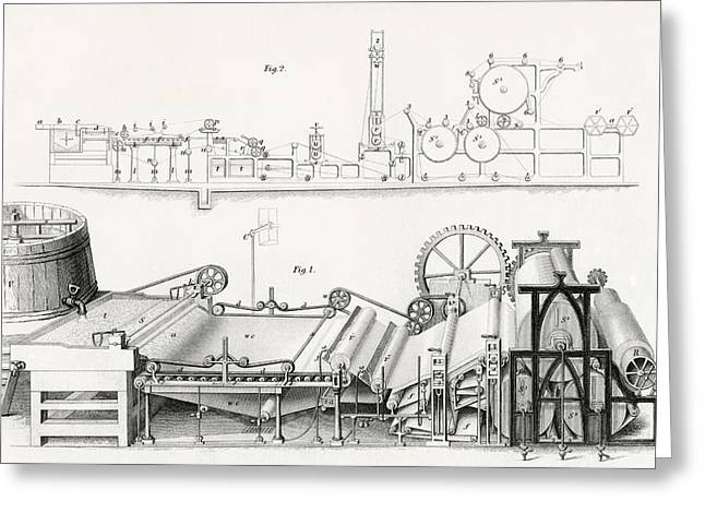 Cog Drawings Greeting Cards - Paper Making Machine, 19th Century Greeting Card by Vintage Design Pics