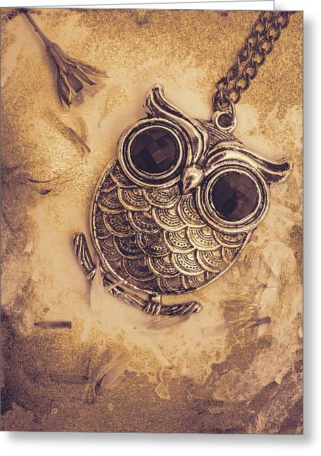 Paper Pendant Owl Greeting Card by Jorgo Photography - Wall Art Gallery