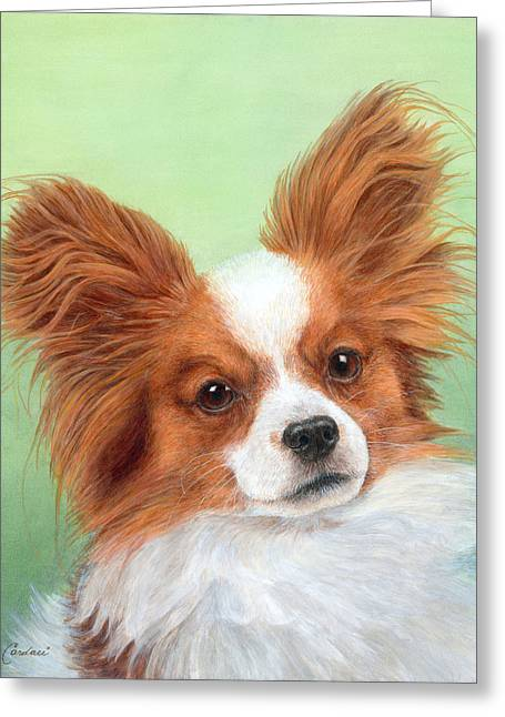 Dog Head Greeting Cards - Papillion Greeting Card by Diane Cardaci
