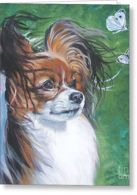 Papillon Dog Greeting Cards - Papillon and butterflies Greeting Card by L A Shepard